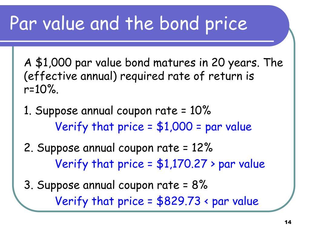 Par value and the bond price