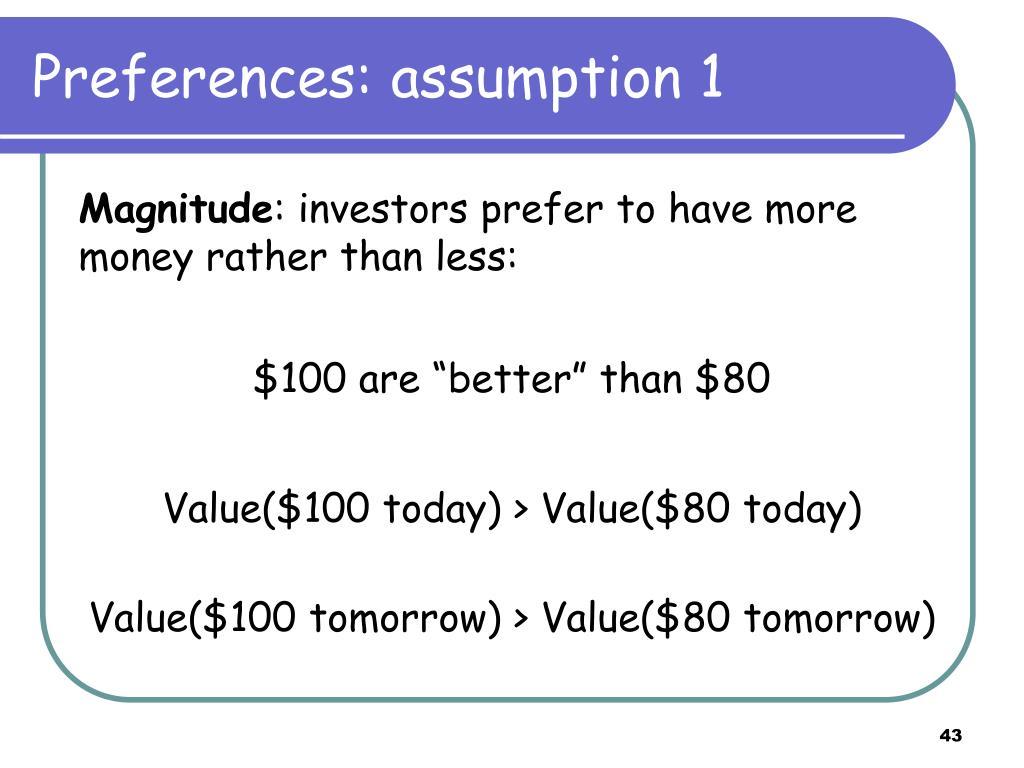 Preferences: assumption 1