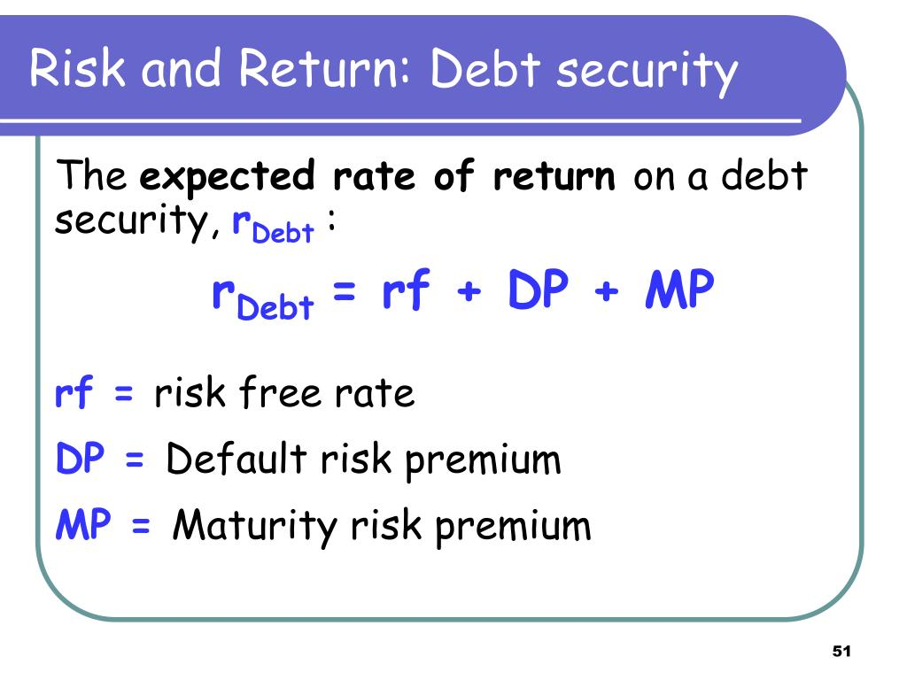 Risk and Return: D