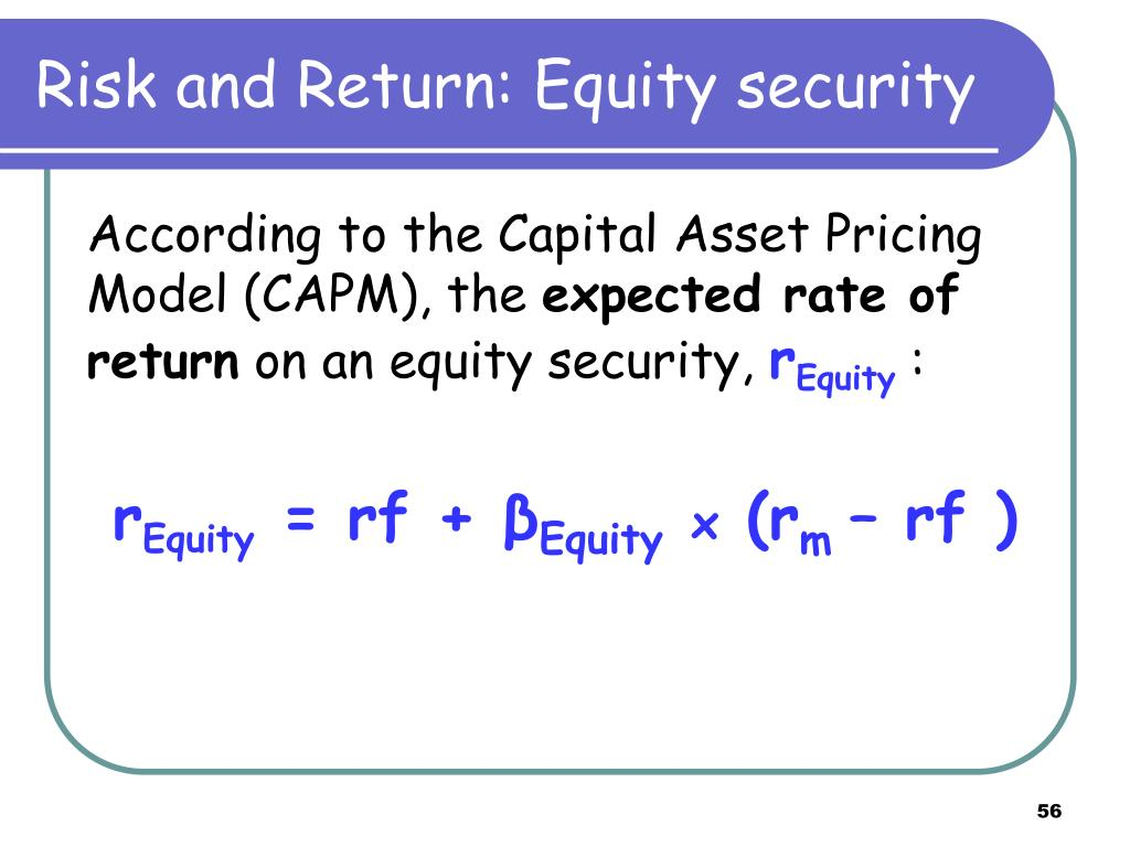 Risk and Return: Equity security