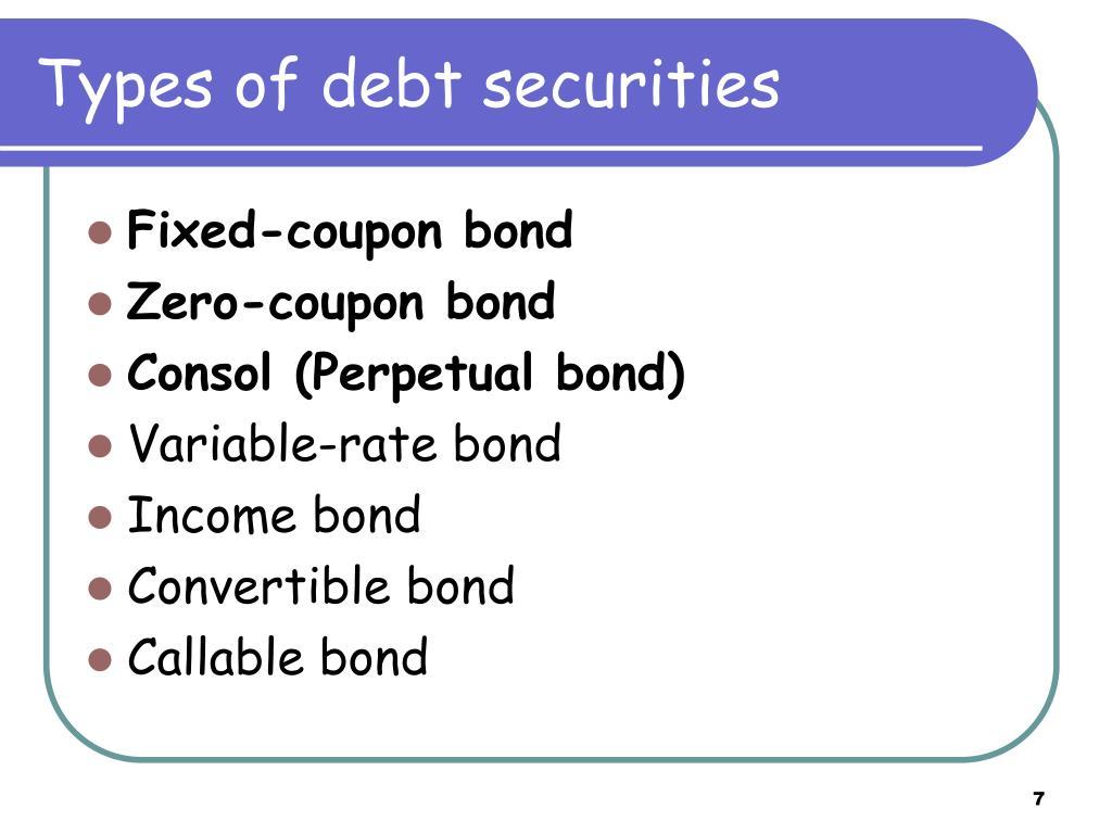 Types of debt securities