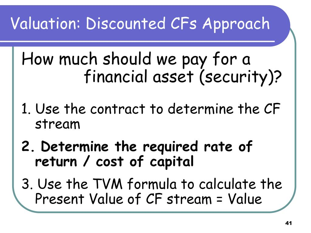 Valuation: Discounted CFs Approach