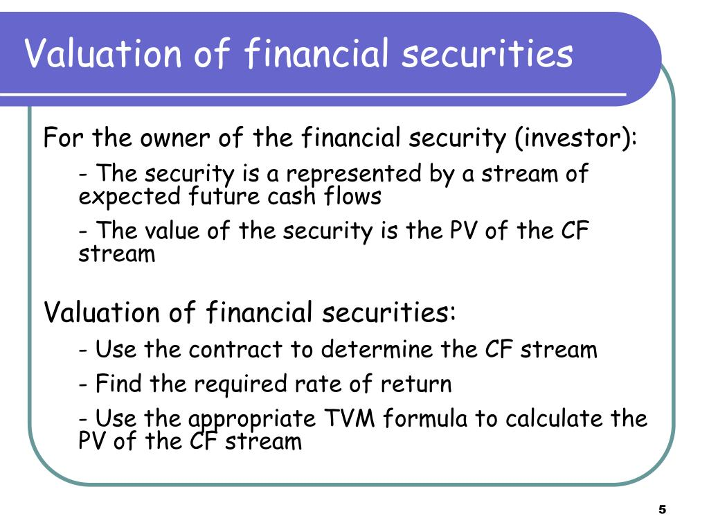 Valuation of financial securities