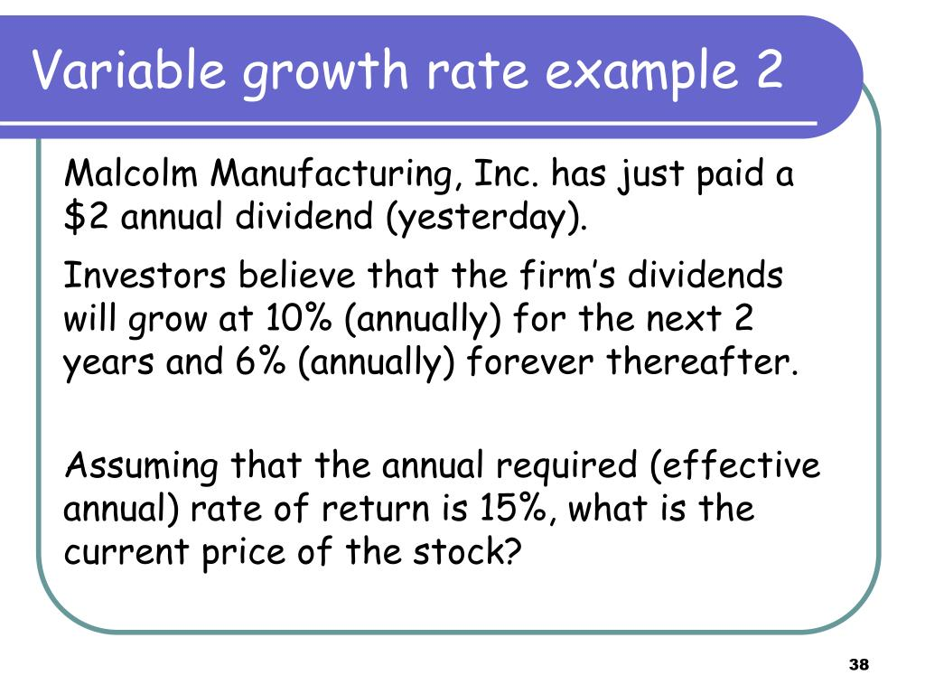 Variable growth rate example 2