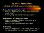 bears assessment simple set of sleep questions for parents53