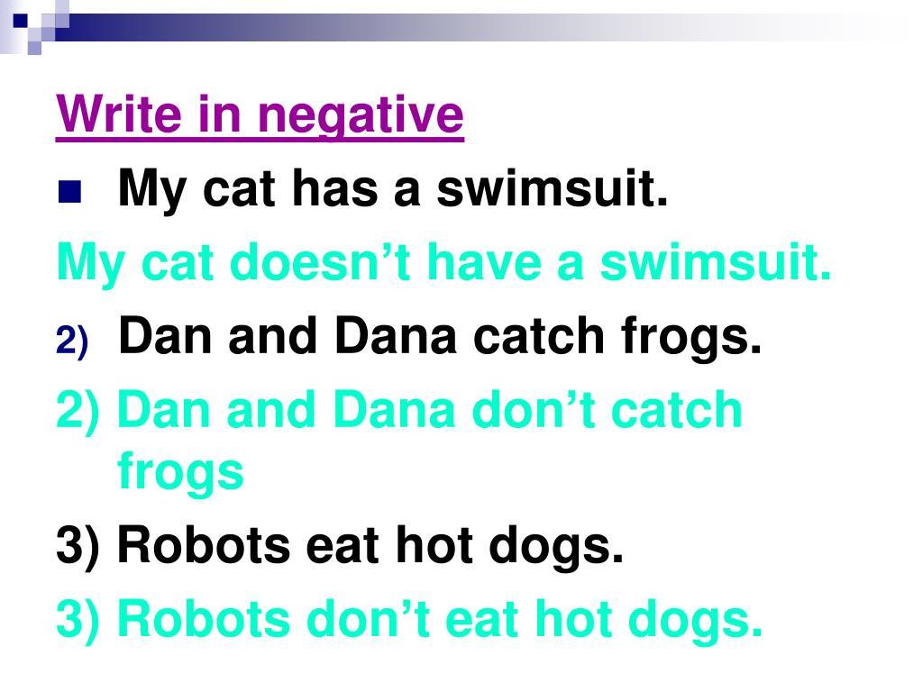 Write in negative