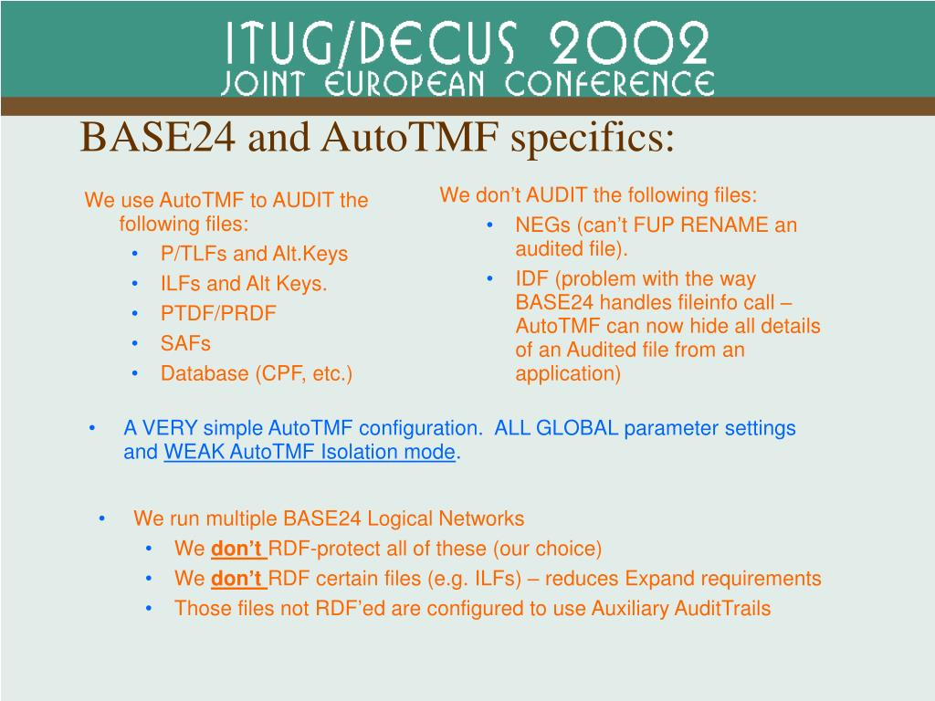 BASE24 and AutoTMF specifics: