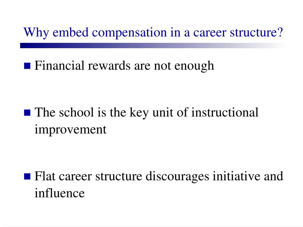 Why embed compensation in a career structure?