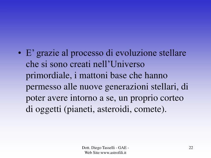 E' grazie al processo di evoluzione stellare che si sono creati nell'Universo primordiale, i mattoni base che hanno permesso alle nuove generazioni stellari, di poter avere intorno a se, un proprio corteo di oggetti (pianeti, asteroidi, comete).