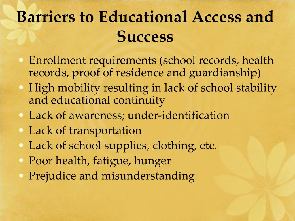 Barriers to Educational Access and Success