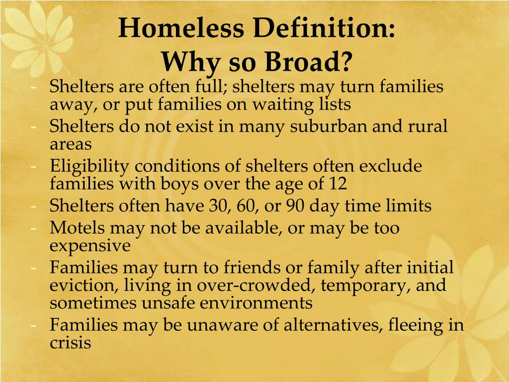 Homeless Definition: