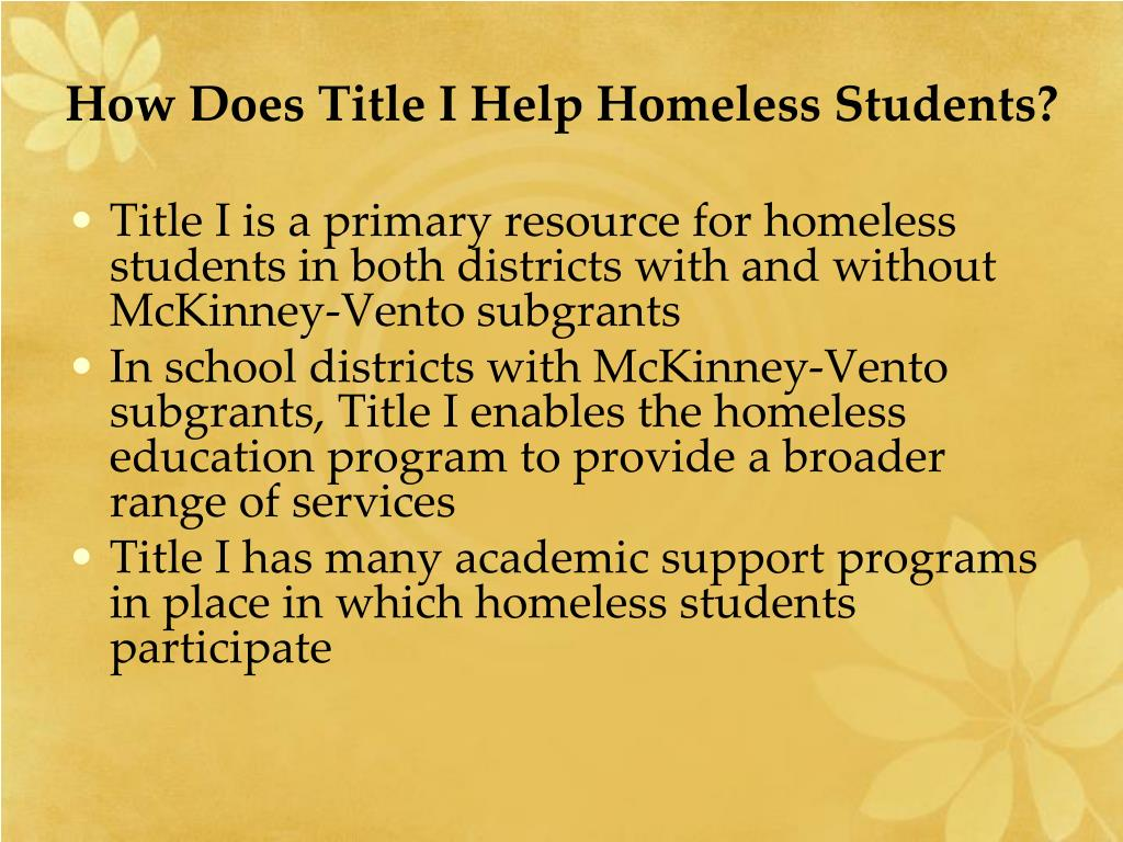 How Does Title I Help Homeless Students?