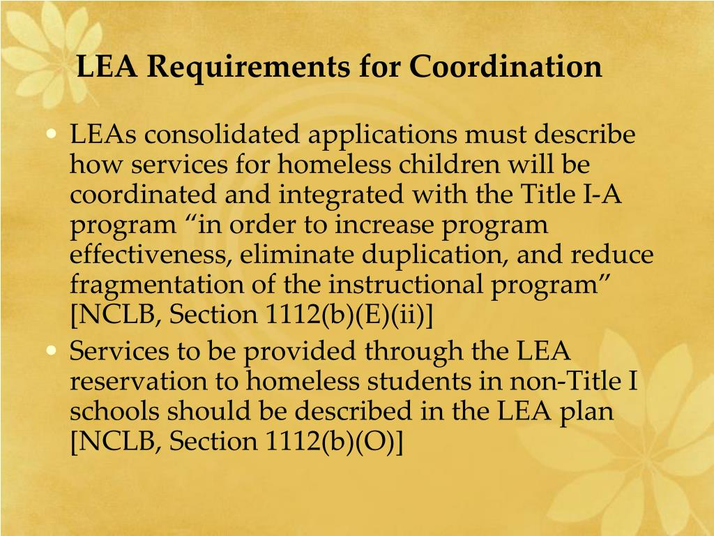 LEA Requirements for Coordination