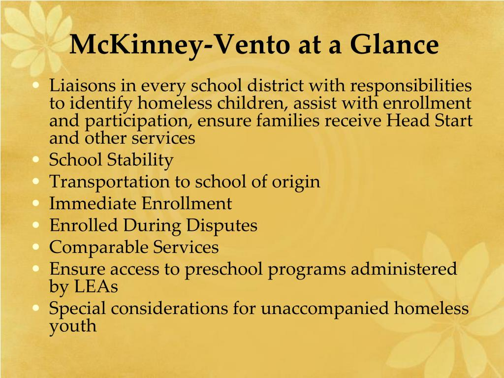 McKinney-Vento at a Glance