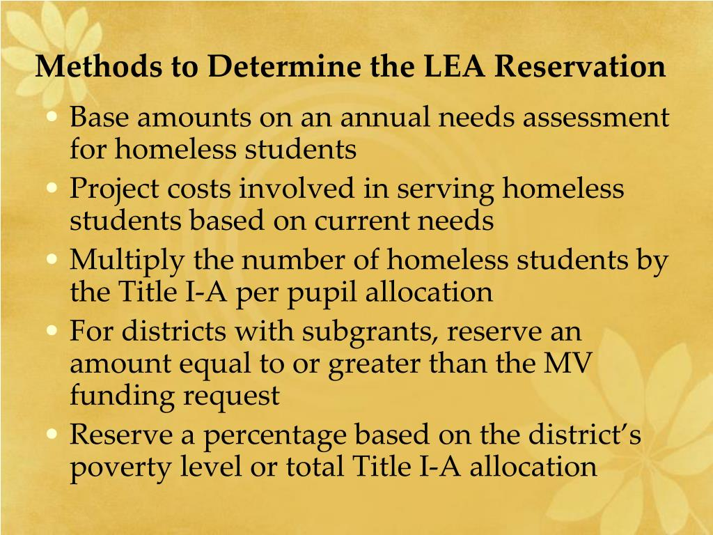 Methods to Determine the LEA Reservation