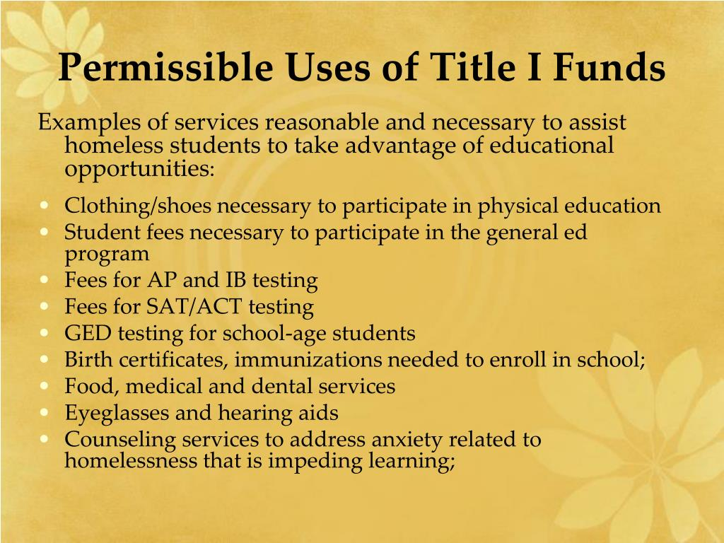 Permissible Uses of Title I Funds