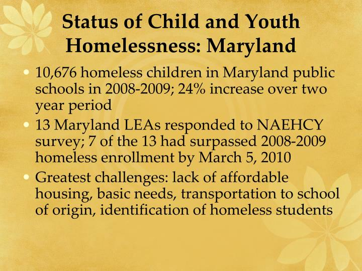 Status of child and youth homelessness maryland