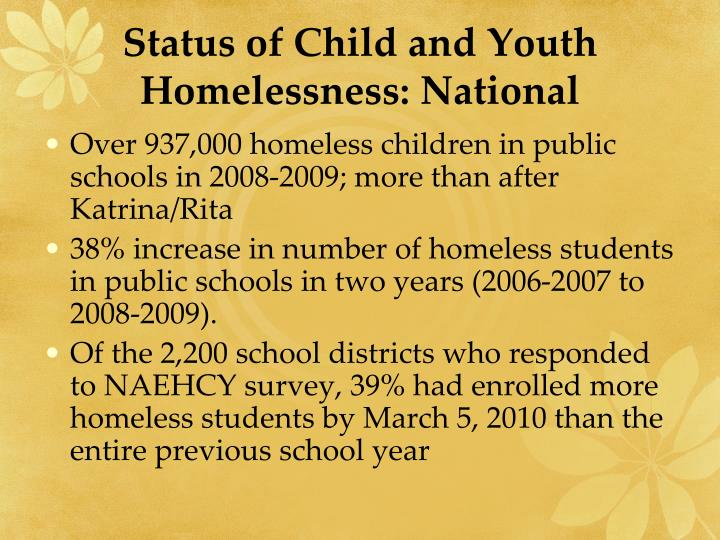 Status of child and youth homelessness national