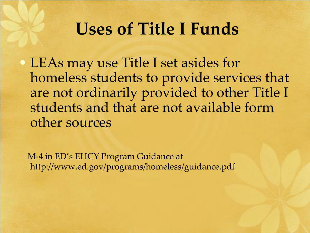 Uses of Title I Funds