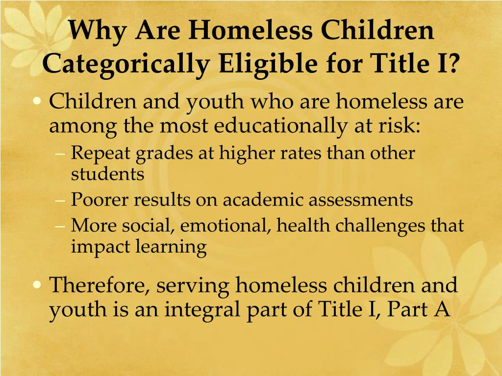 Why Are Homeless Children Categorically Eligible for Title I?