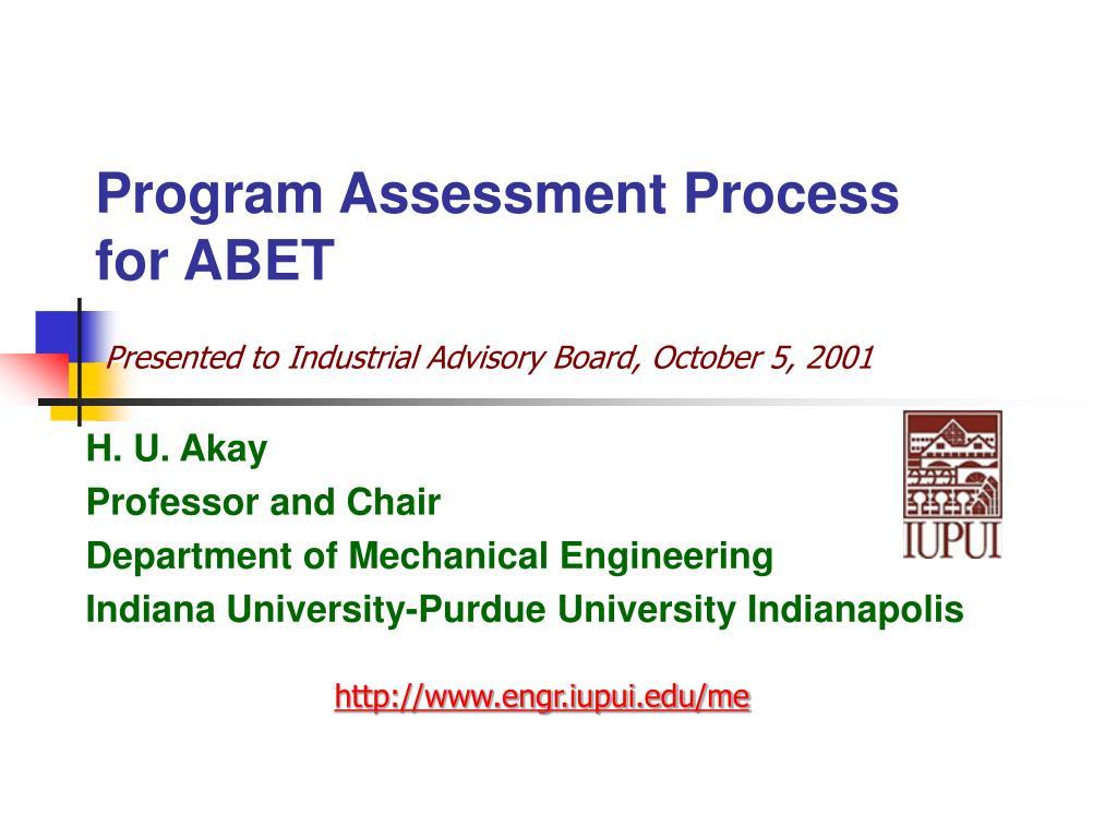 program assessment process for abet l.