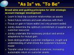 as is vs to be