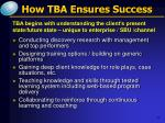 how tba ensures success