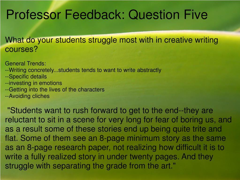 Professor Feedback: Question Five