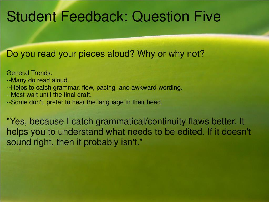 Student Feedback: Question Five