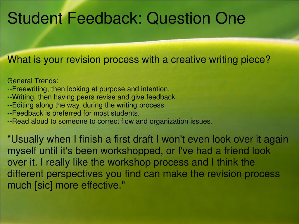 Student Feedback: Question One
