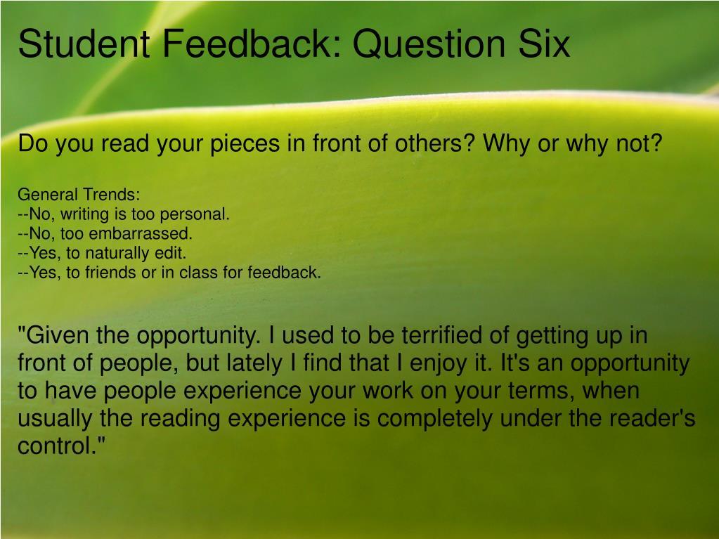 Student Feedback: Question Six