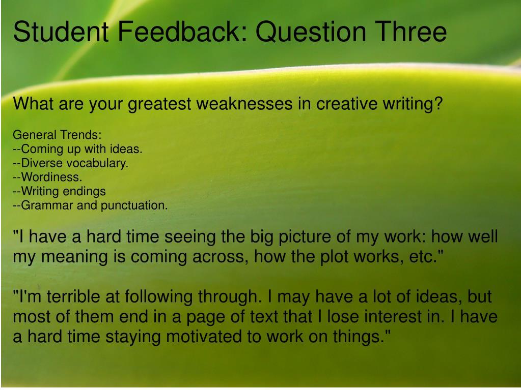 Student Feedback: Question Three