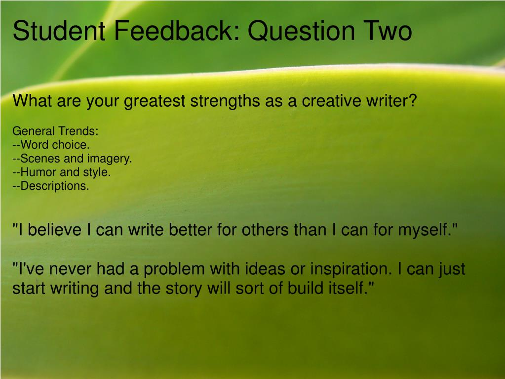 Student Feedback: Question Two