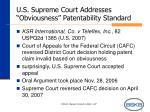 u s supreme court addresses obviousness patentability standard