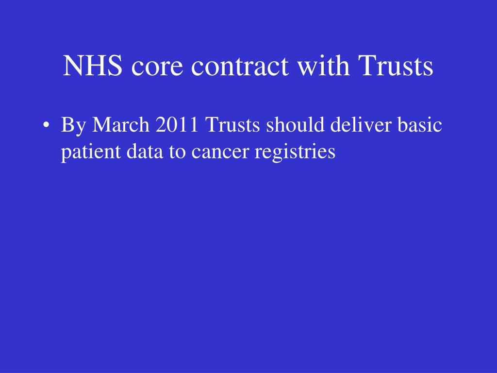 NHS core contract with Trusts