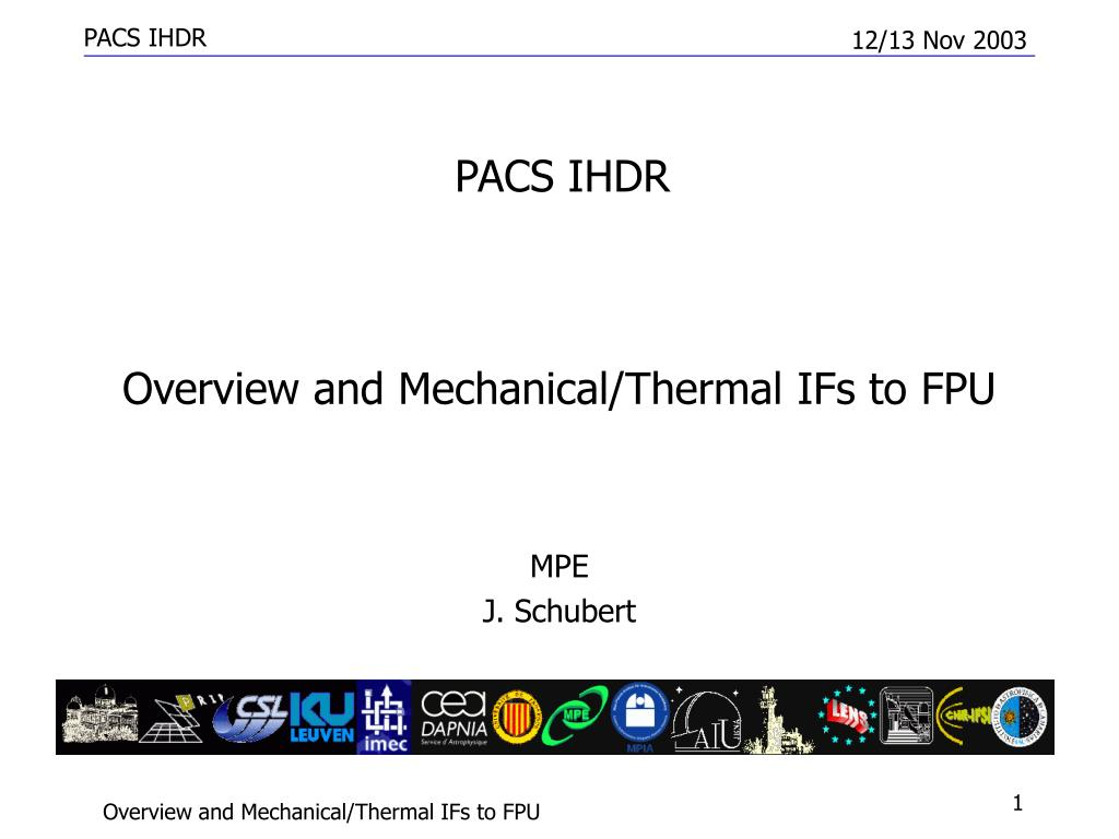 overview and mechanical thermal ifs to fpu l.
