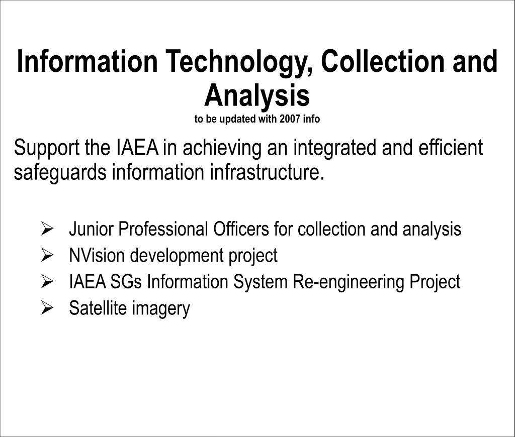 Information Technology, Collection and Analysis