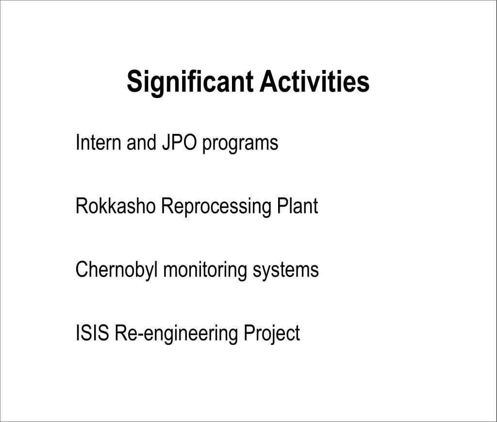 Significant Activities