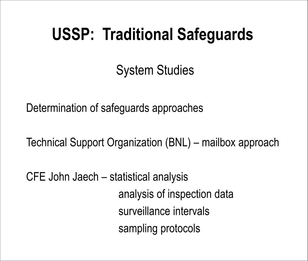 USSP:  Traditional Safeguards