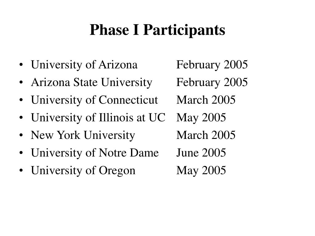 Phase I Participants