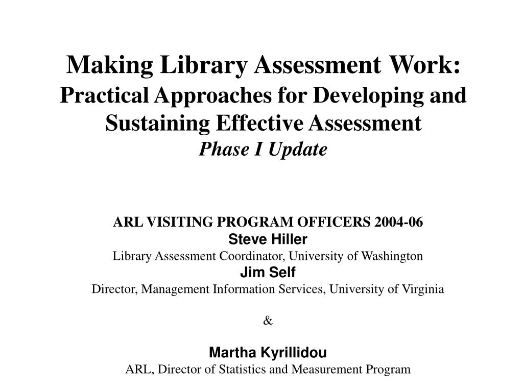 Making Library Assessment