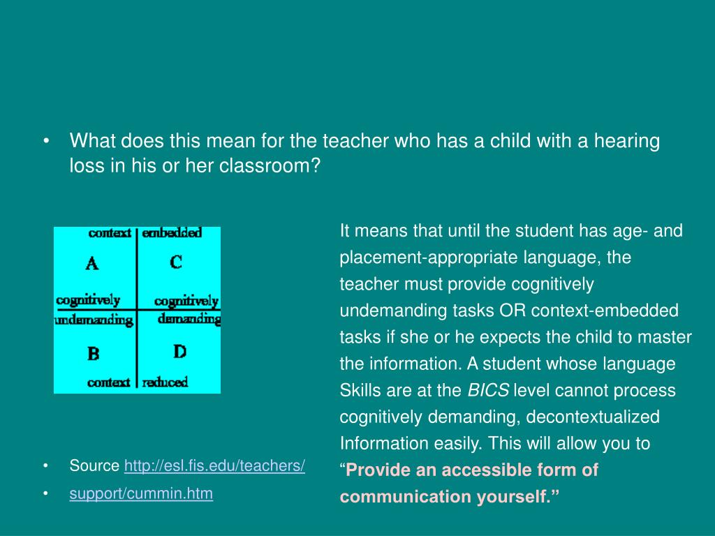 What does this mean for the teacher who has a child with a hearing loss in his or her classroom?