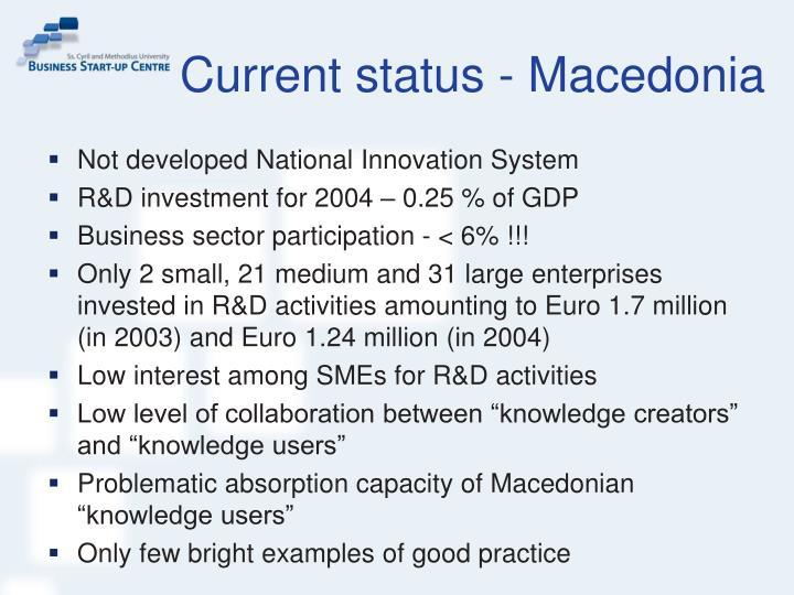 Current status macedonia