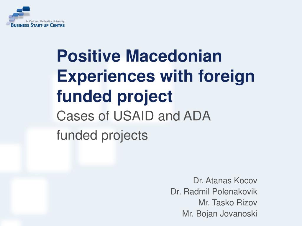 positive macedonian experiences with foreign funded project l.
