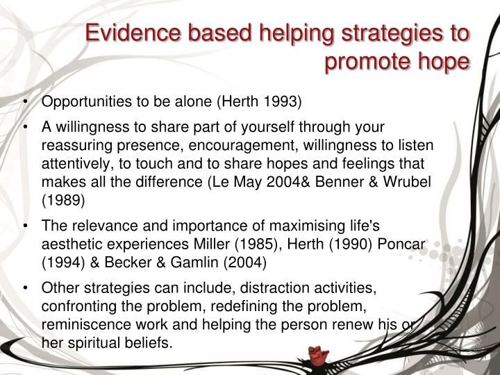 Evidence based helping strategies to promote hope