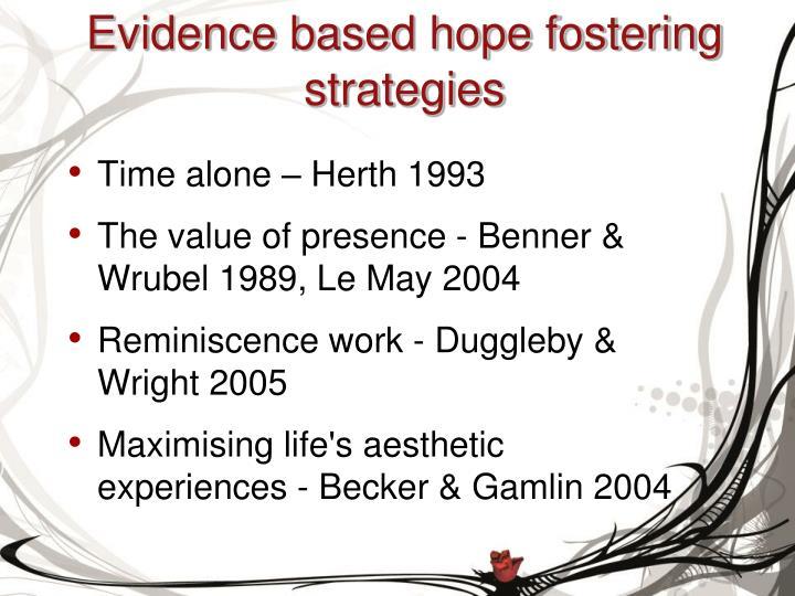 Evidence based hope fostering strategies