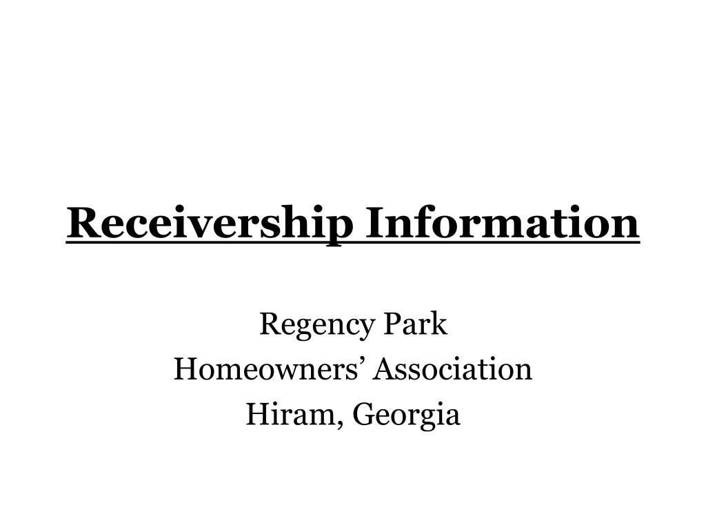 Receivership Information