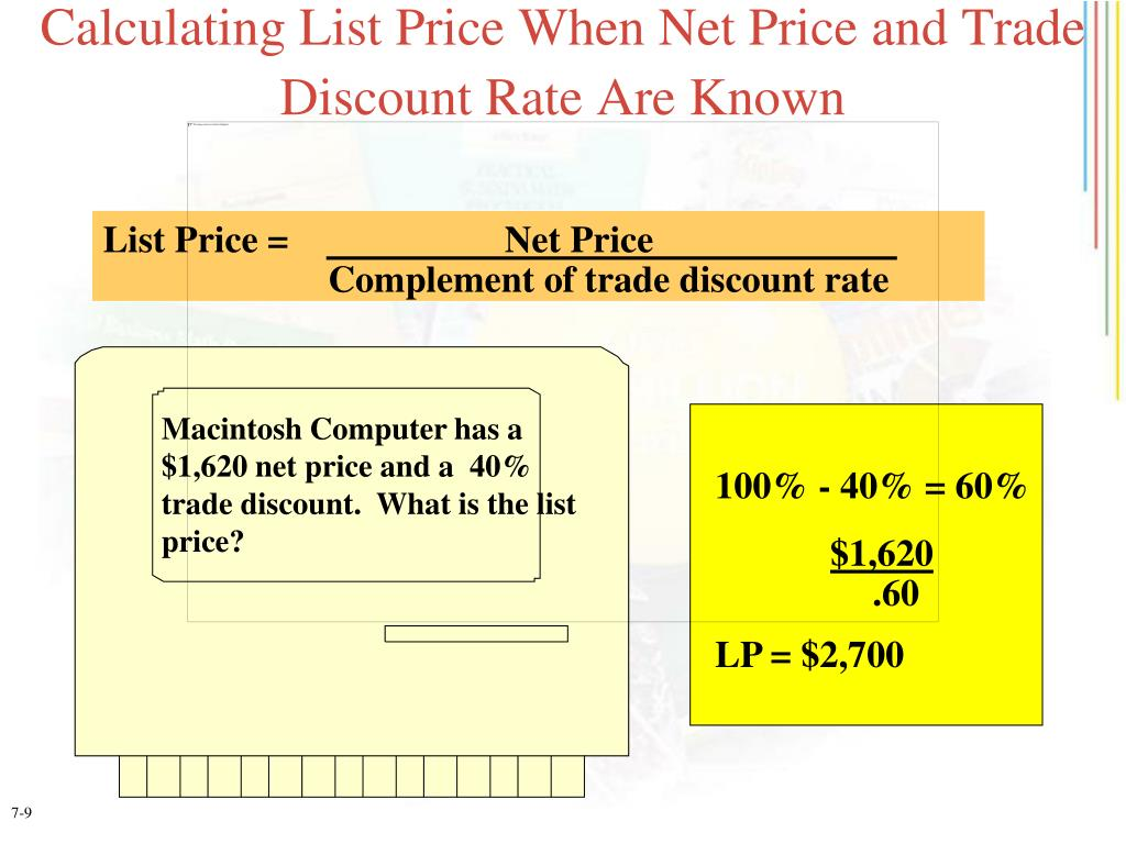 Calculating List Price When Net Price and Trade Discount Rate Are Known