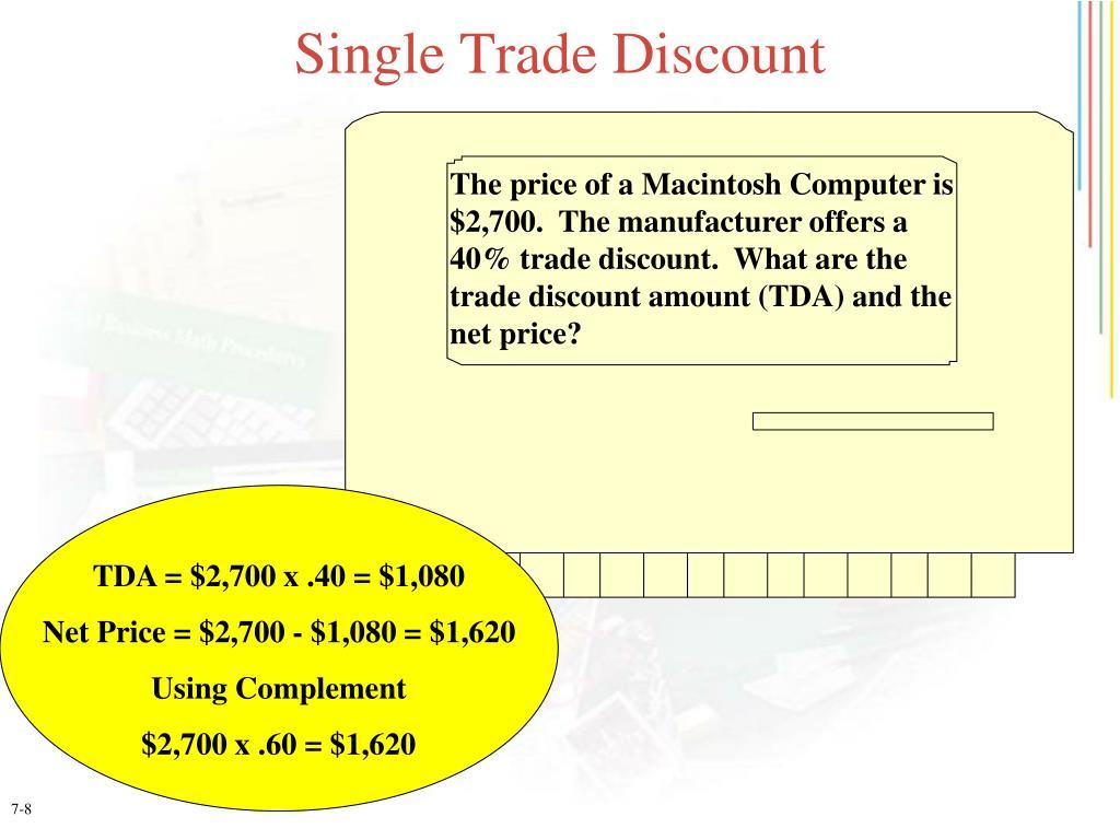 Single Trade Discount