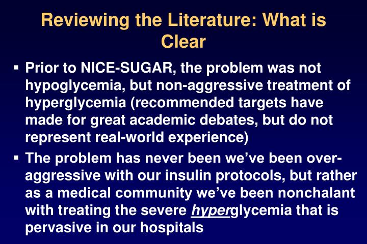 Reviewing the Literature: What is Clear